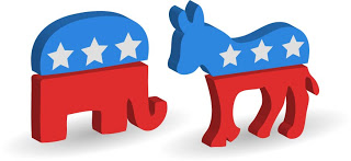 Republican Elephant and Democrat Donkey